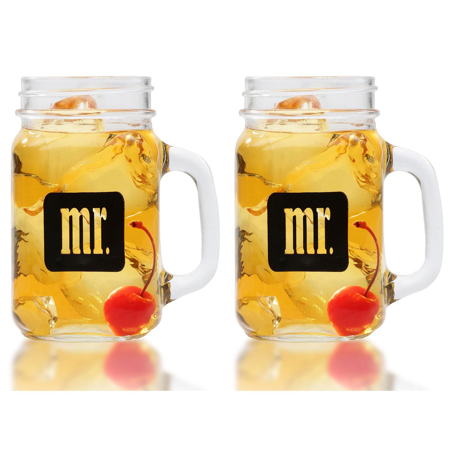 Mr. & Mr. Gay Couple Mason Jars With Gift Box - Same Sex Drinking Glasses - His and His - For Wedding, Engagement, Anniversary, House Warming, Host Gift, 16 ounce by Smart Tart Design