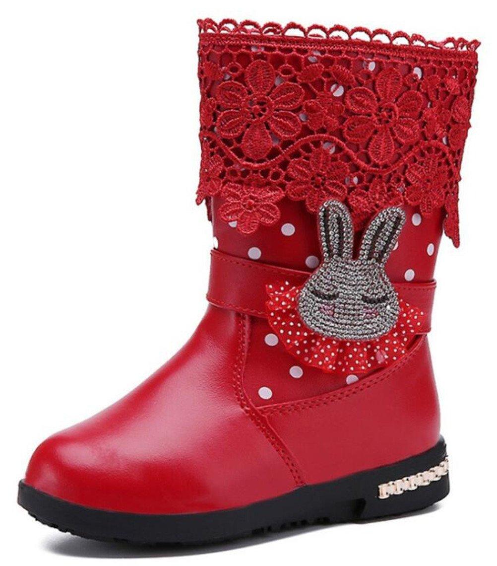 DADAWEN Girl's Waterproof Lace Bowknot Side Zipper Fur Winter Boots (Toddler/Little Kid/Big Kid) 70429