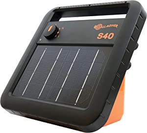 Gallagher S40 Solar Electric Fence Charger | Powers Up To 25 Mile / 80 Acres of Fence | Low Impedance, 0.4 Stored Joule Energizer | Unique Battery Saving Technology | Solar Battery & Leadsets Included