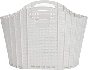 Mind Reader RFOLDBASK-IVO 38 Liter, Laundry, Storage, Bathroom, Bedroom, Home, 38 L, Ivory 38 Closed Basket