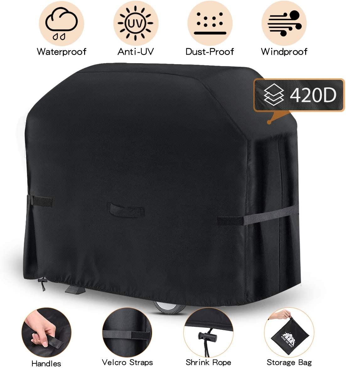 king do way Funda para Barbacoa Impermeable, Cubierta para Barbacoa 420D Oxford, Protector para Barbacoa Anti-Viento/UV/Impermeabilidad para Weber, Brinkmann,Outback,Char Broil, etc (147x61x122cm)