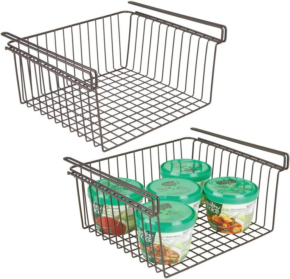 mDesign Household Metal Under Shelf Hanging Storage Organizer Bin Basket for Organizing Kitchen Pantry, Cabinets, Cupboards, Shelves - Vintage Modern Farmhouse Grid Style - Large, 2 Pack - Bronze