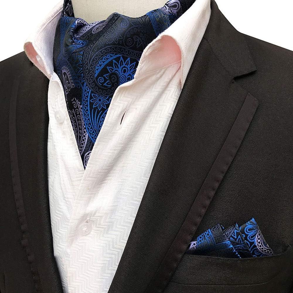 YLQC Mens Fashion Classic Cravat Paisley Floral Jacquard Woven Self Tie Luxury Ascot Color : D
