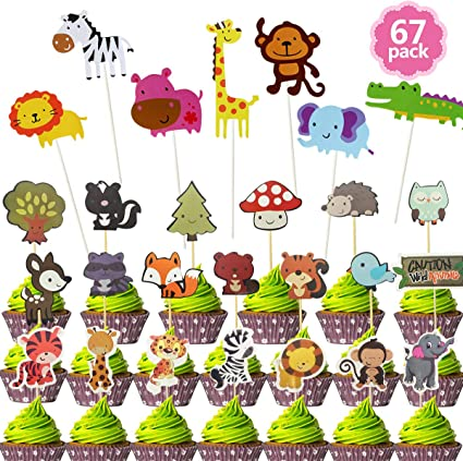 Remarkable Amazon Com Cieovo 67 Pack Cute Zoo Animal Cupcake Toppers Safari Funny Birthday Cards Online Inifofree Goldxyz
