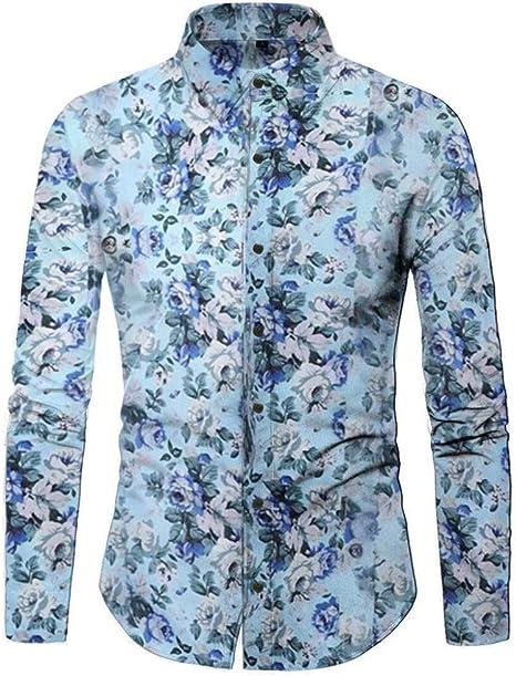 YFSLC-Studio Camisa De Manga Larga Hombre,Azul Claro Patrón Floral Mens Retro Blusa Moda Casual Blusa Larga Tela Floral Impreso Collar Casual Camiseta Slim Fit con Blusa: Amazon.es: Deportes y aire libre