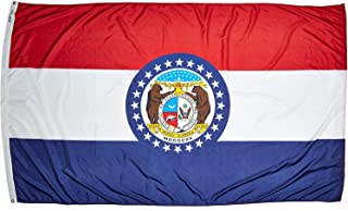 product image for Annin Flagmakers Model 142980 Missouri Flag Nylon SolarGuard NYL-Glo, 5x8 ft, 100% Made in USA to Official State Design Specifications