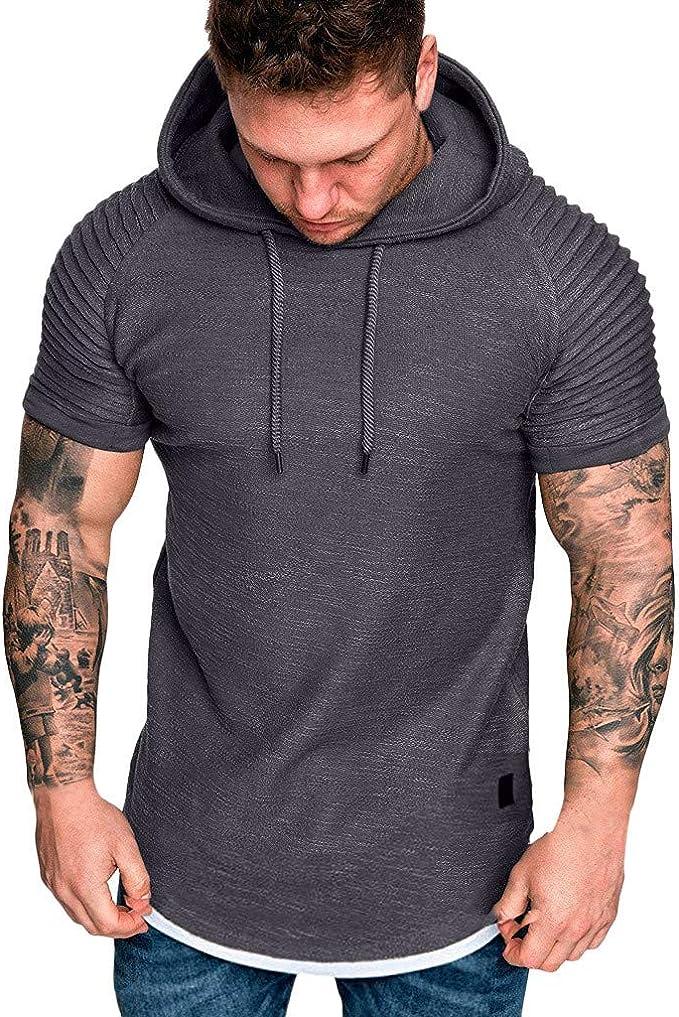 HCFKJ T-Shirt, Polo y Camisas para Hombre con Capucha de Manga ...