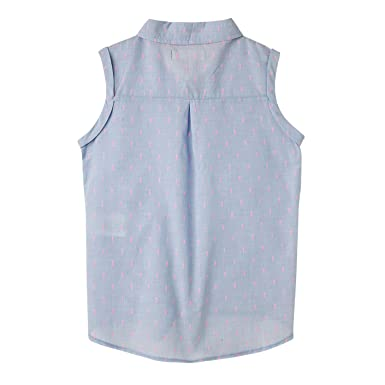 Amazon.com: OFFCORSS Big Girls Button Down Sleeveless Dress Shirt | Camisa Manga Larga Niña: Clothing