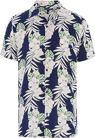 Camisa de manga corta con estampado tropical hawaiano para ...