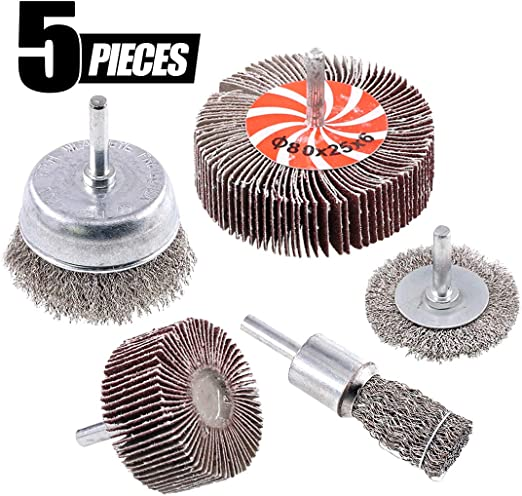 """1//4/"""" Shank Drills Grinders 4/"""" Knotted Carbon Steel Wire Wheel Brushes Set of 5"""