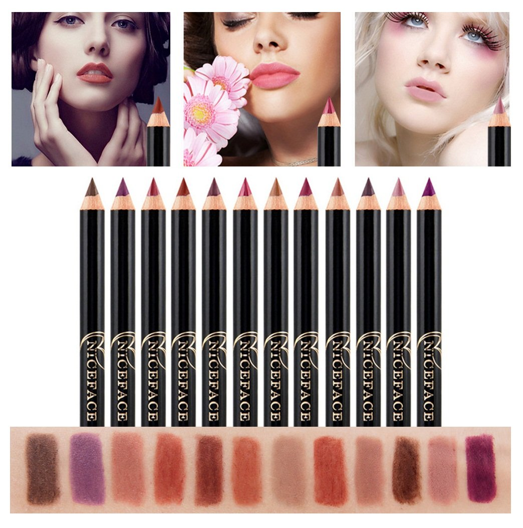 Yalasga 12pcs Professional Lipliner Makeup Waterproof Lip Liner Pencil 12 Colors