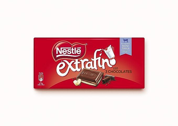 Nestlé - Extrafino - 3 Chocolates - Tableta de Tres Chocolates - 120 g