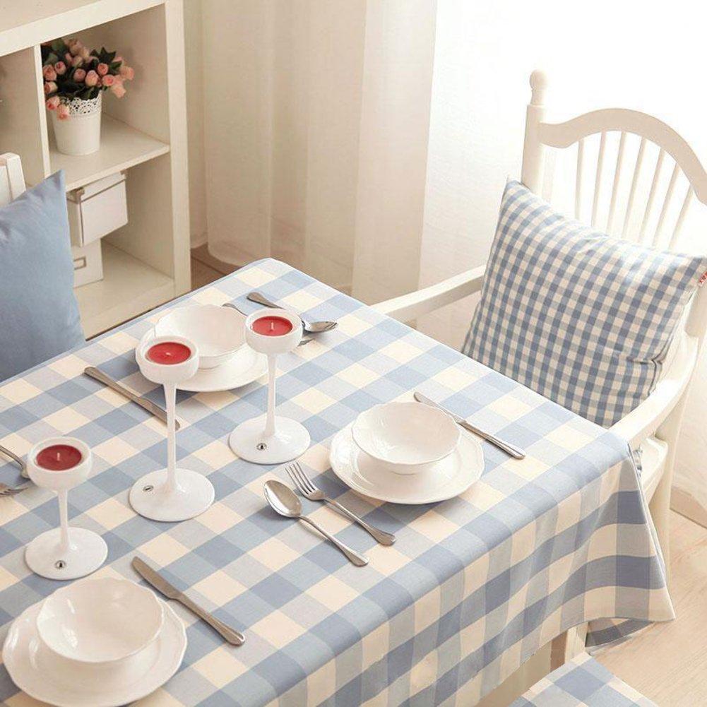 Bbdsj Mantel de grid Paño de tabla de familia moderna Estilo pastoral Espesar Paño de la mesa de té del Mantel azul Varios estilos-A 140x190cm(55x75inch)