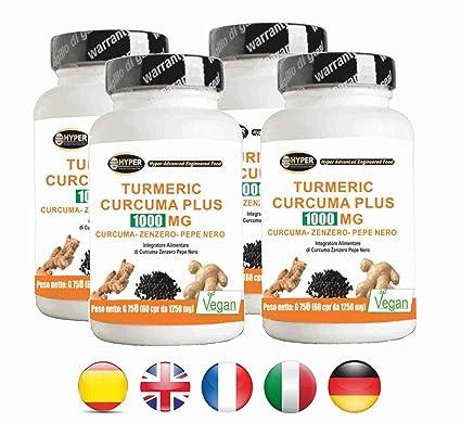 Turmeric Curcuma 1000 La curcumina + Jengibre + piperina - quemador de grasa | alta dosis