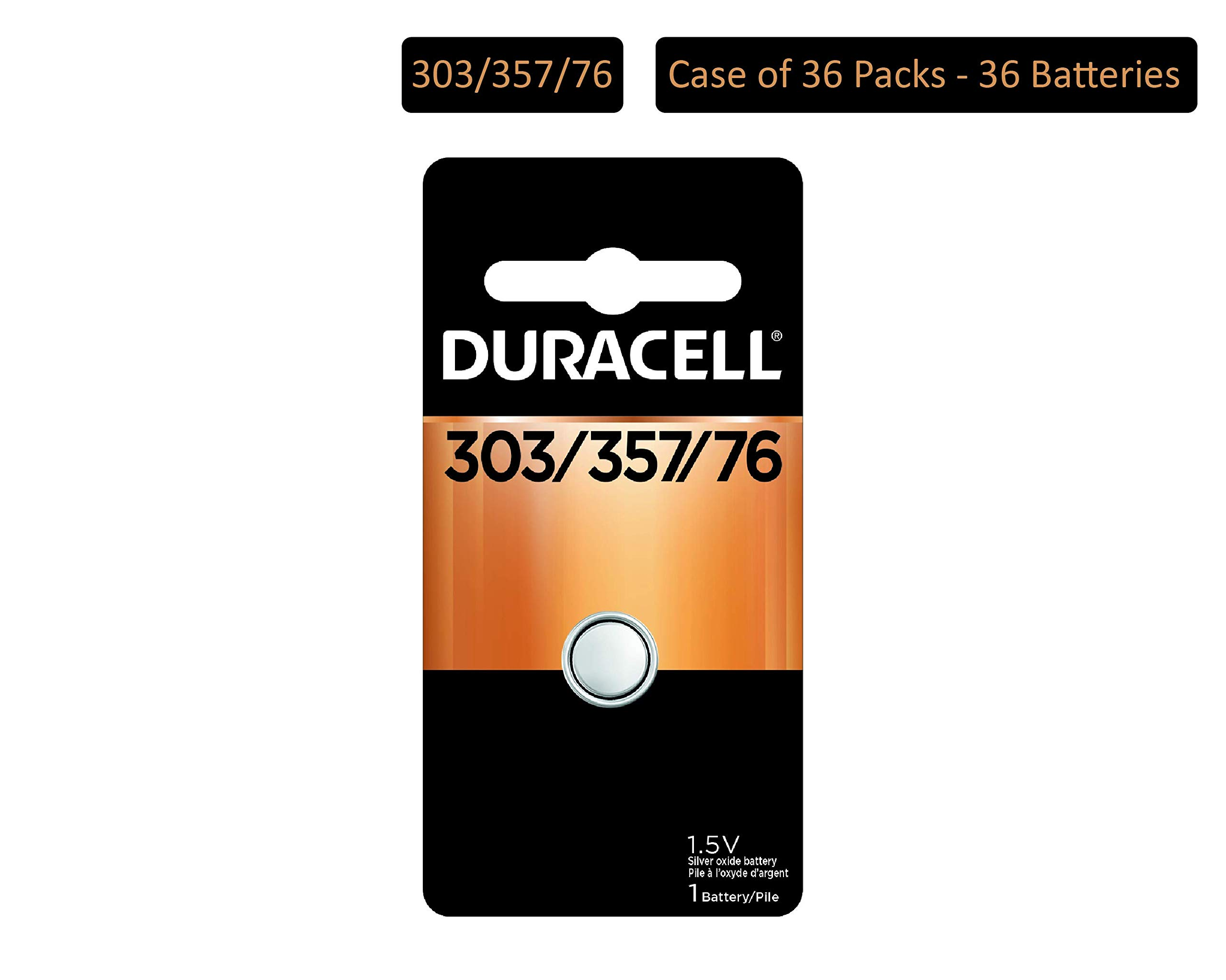 Duracell - 303/357 1.5V Silver Oxide Button Battery - Long-Lasting Battery (Pack of 36) by Duracell
