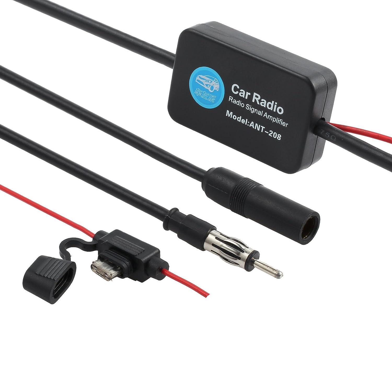 ESYNIC Car Antenna Radio FM Signal Amplifier Booster 12V 25dB ANT-208 with Indicator Model ZAT092AU
