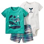 Carter's Baby Boys 3 Piece Tee, Bodysuit & Shorts Set, Whales, Newborn
