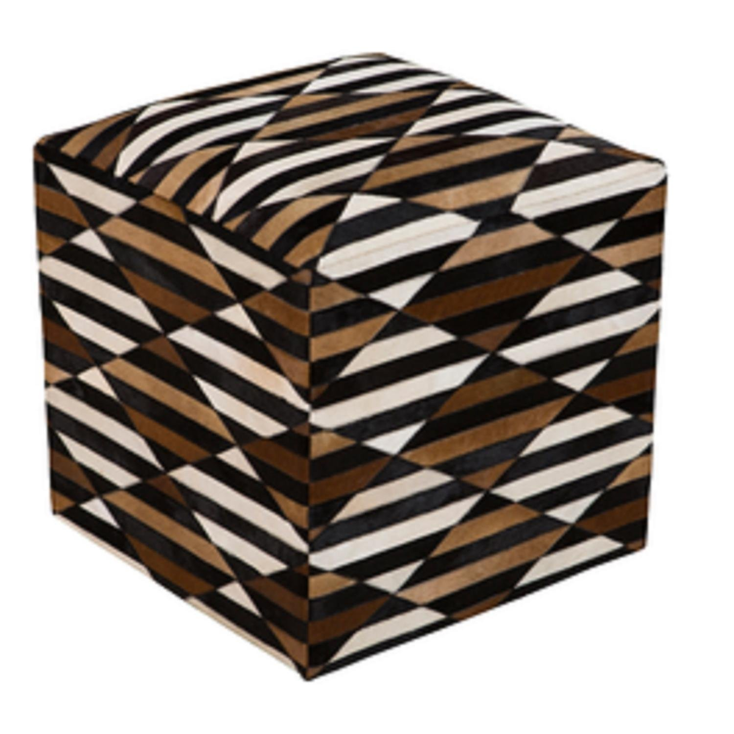 18'' Black, Chocolate Brown and Ivory Striped Leather Square Pouf Ottoman