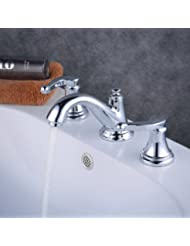 Beelee Three Holes Two-Handle Low Arc Bathroom Faucet with Valve and Pop-up , Chrome, Polished Chrome