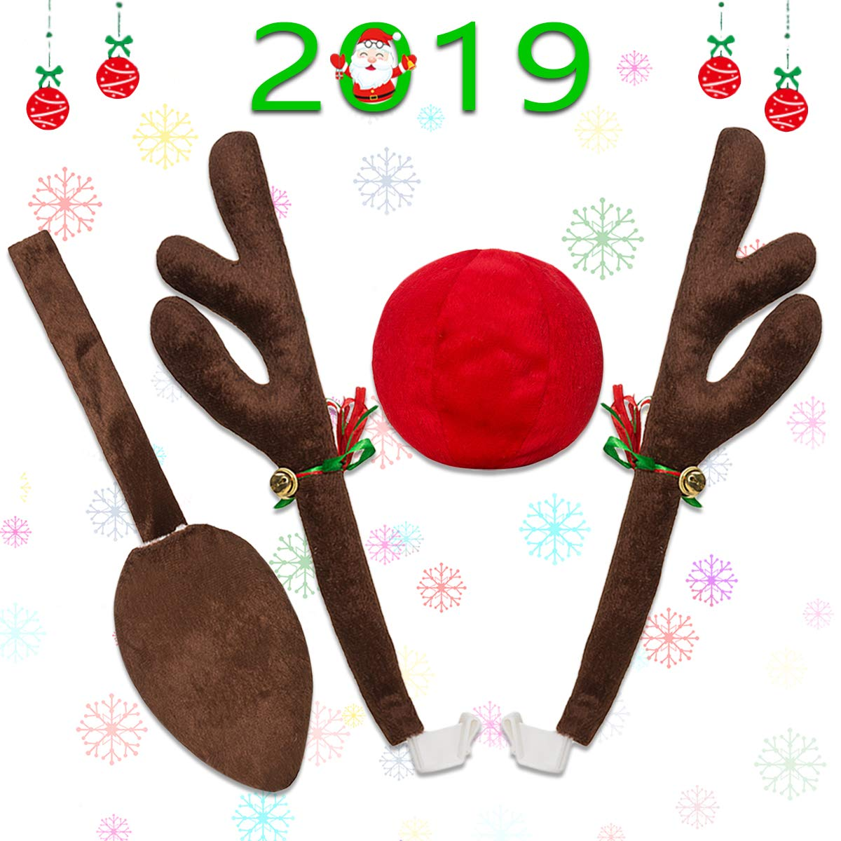 Minetom Car Reindeer Antlers Christmas Reindeer Vehicle Christmas Decorations Auto Decoration Kit with Tail and Jingle Bells Reindeer for Car Christmas Mineton
