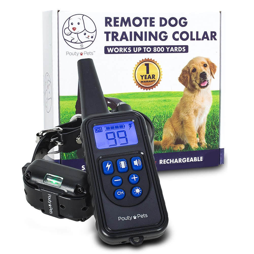 Pouty Pets Remote Control Shock Collar for Dogs - Safe & Humane Bark Collar - Training for Your Dog - Waterproof, Rechargeable, Works up to 800 Yards - Vibration, Beep, LED Light Functions
