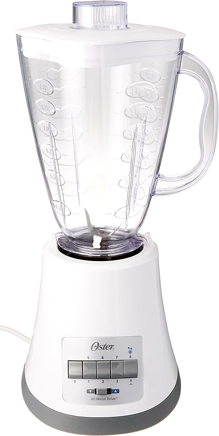 Oster BLSTMP-W00 8 Speed 450W 6 Cup Plastic Jar Blender, White (220V - Not for USA)