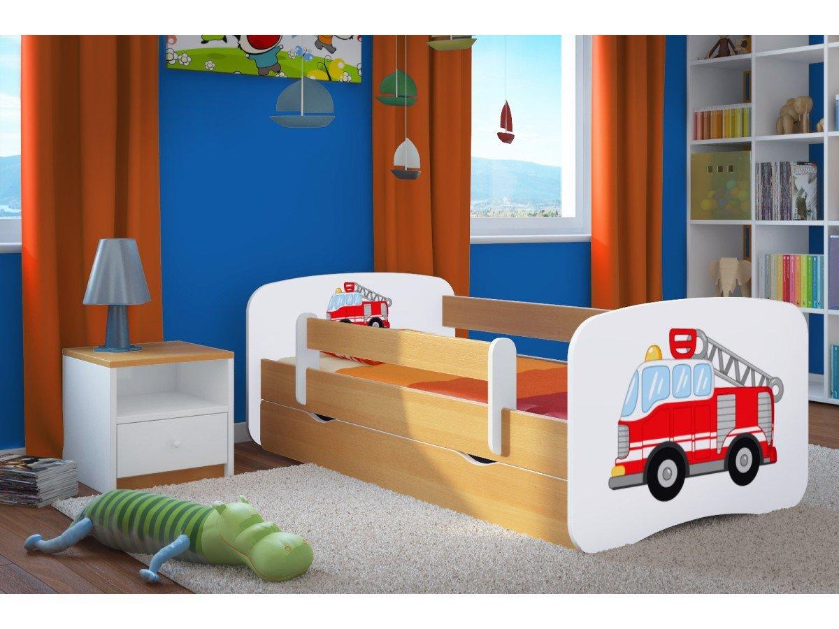 Kocot Kids Kinderbett Jugendbett 70x140 80x160 80x180 Buche mit Rausfallschutz Matratze Schublade und Lattenrost Kinderbetten für Mädchen und Junge Feuerwehr 140 cm