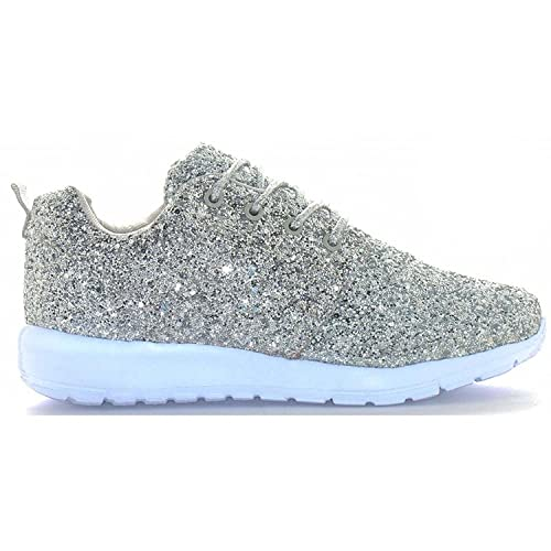 ba16893cc1b5 Womens Ladies Lace Up Glitter Sparkly Trainers Sneakers Gym Pumps Fitness  Size: Amazon.co.uk: Shoes & Bags