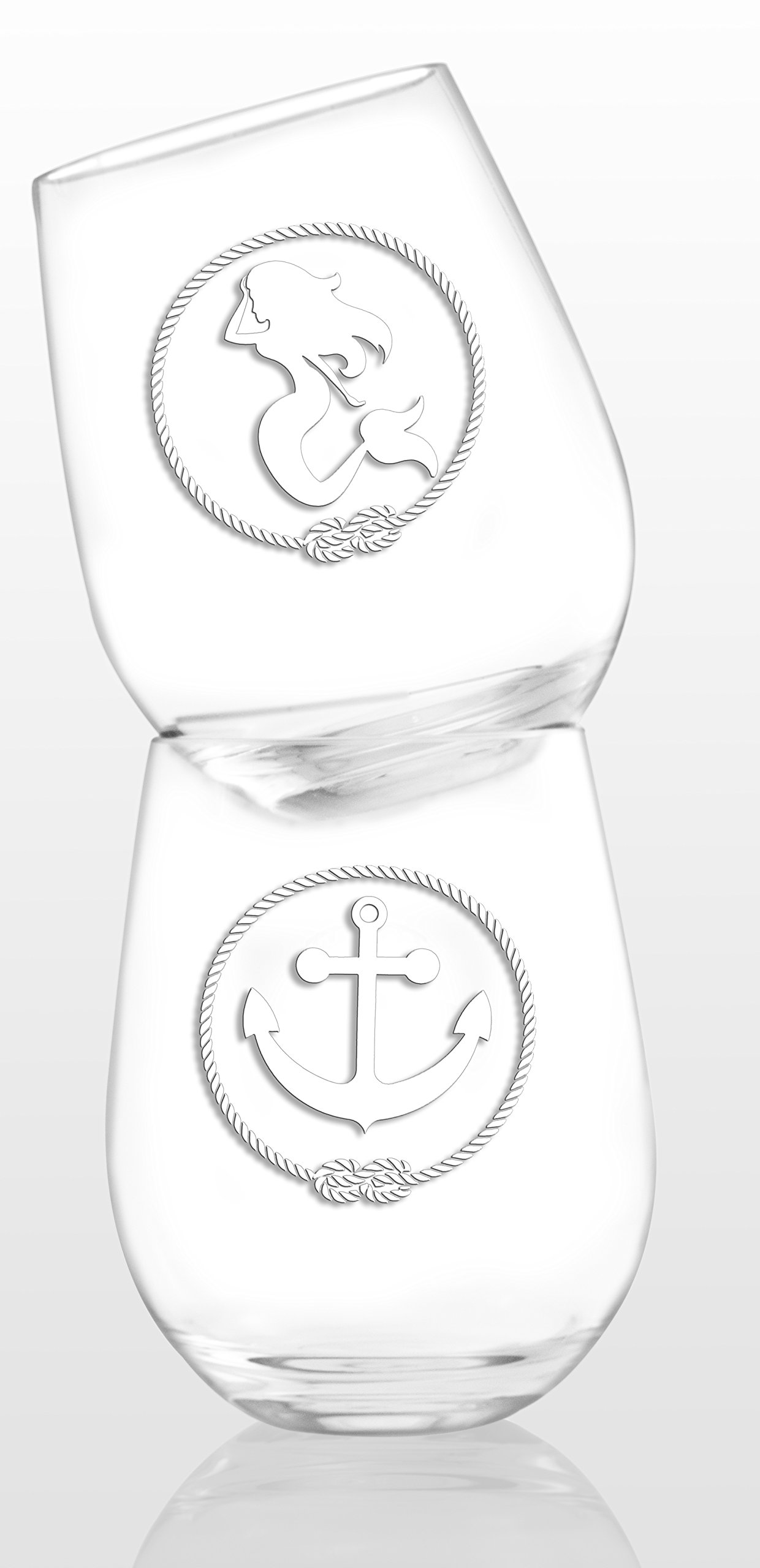 SET OF 6 -Stemless Wine Glasses-Nautical Themed, Resturant Quility Plastic, 14oz, Best Shatter Proof Drinking Glass for Wine, Cocktails or gifts by DaJosie Co. (Image #4)