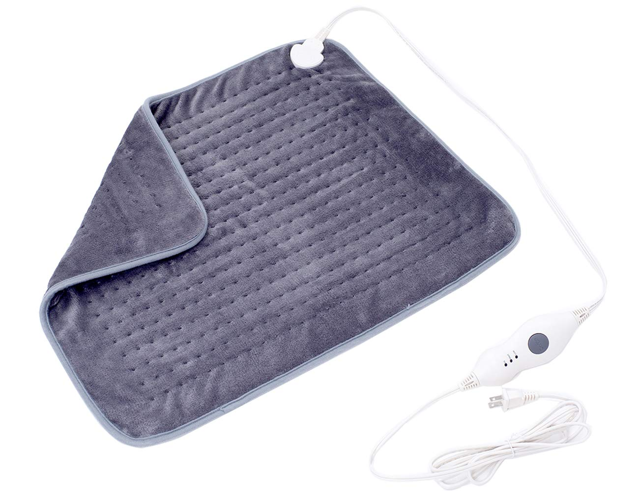 Mosabo Electric Heating Pad XXL 20X24 inches Soft Flannel Large Heat Therapy for Back Pain 3 Temperature Setting with Auto Shut Off Gray