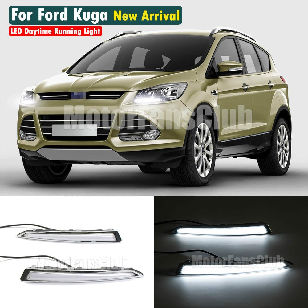 MOTORFANSCLUB LED Daytime Running Light For Ford Kuga Escape Fog Lamp DRL 2013-2016 with Turn Signal(White & Yellow)
