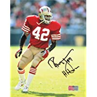 """$99 » Ronnie Lott Autographed/Signed San Francisco 49ers Iconic 8x10 Color NFL Photo with """"Hitman"""" Inscription"""