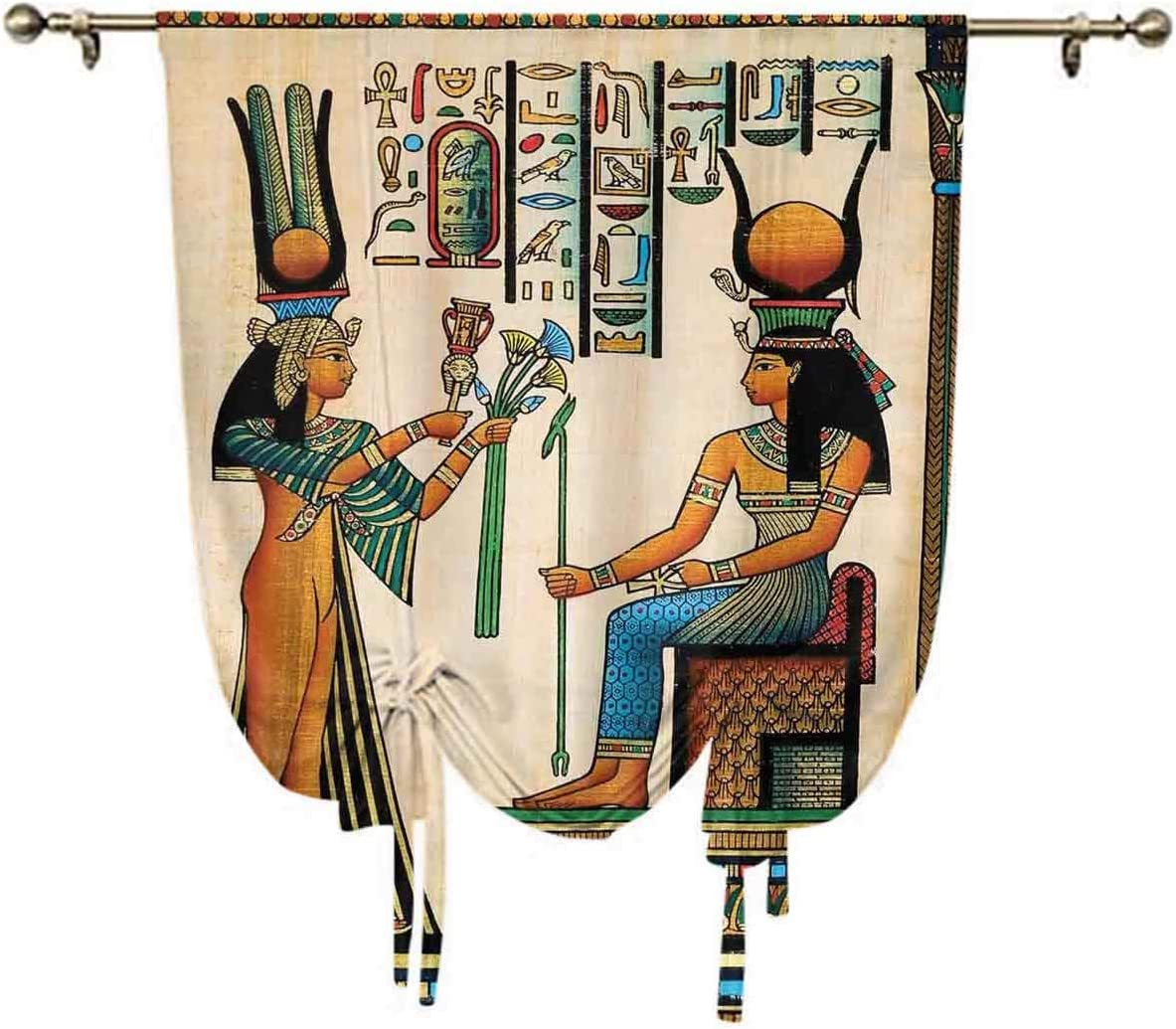 oobon Egyptian Decor Roman Curtain,Old Egyptian Papyrus Depicting Queen Nefertari with Historical Empire Artwork Thermal Insulated Blackout Curtain,31x47 Inch,for Small Window Single Rod Pocket Multi