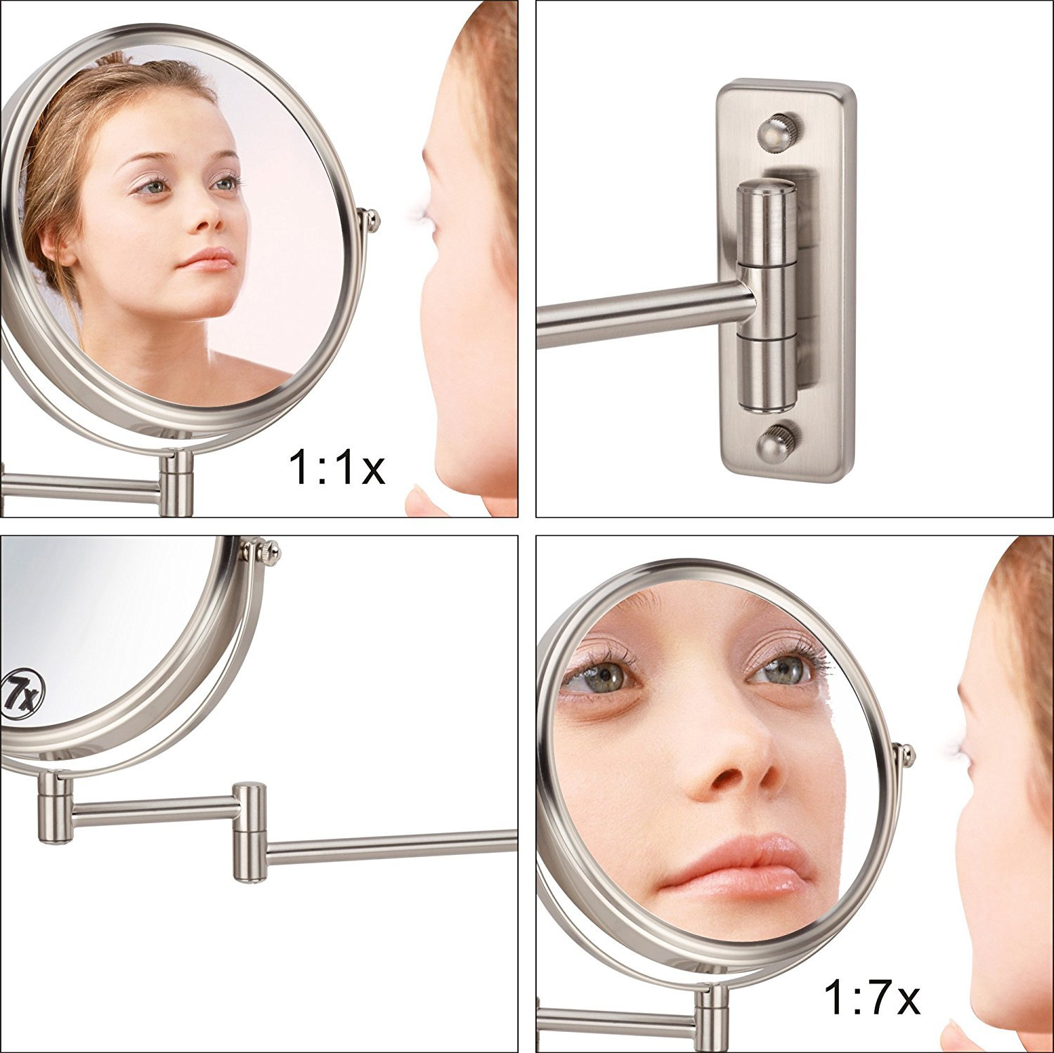 IBeaty Bathroom Mirror 8 inch Wall Mount Makeup Mirror Double-Sided Face Mirror, Swivel Vanity Mirror 1x and 7x Magnification Polished Chrome Finished by IBeaty (Image #6)