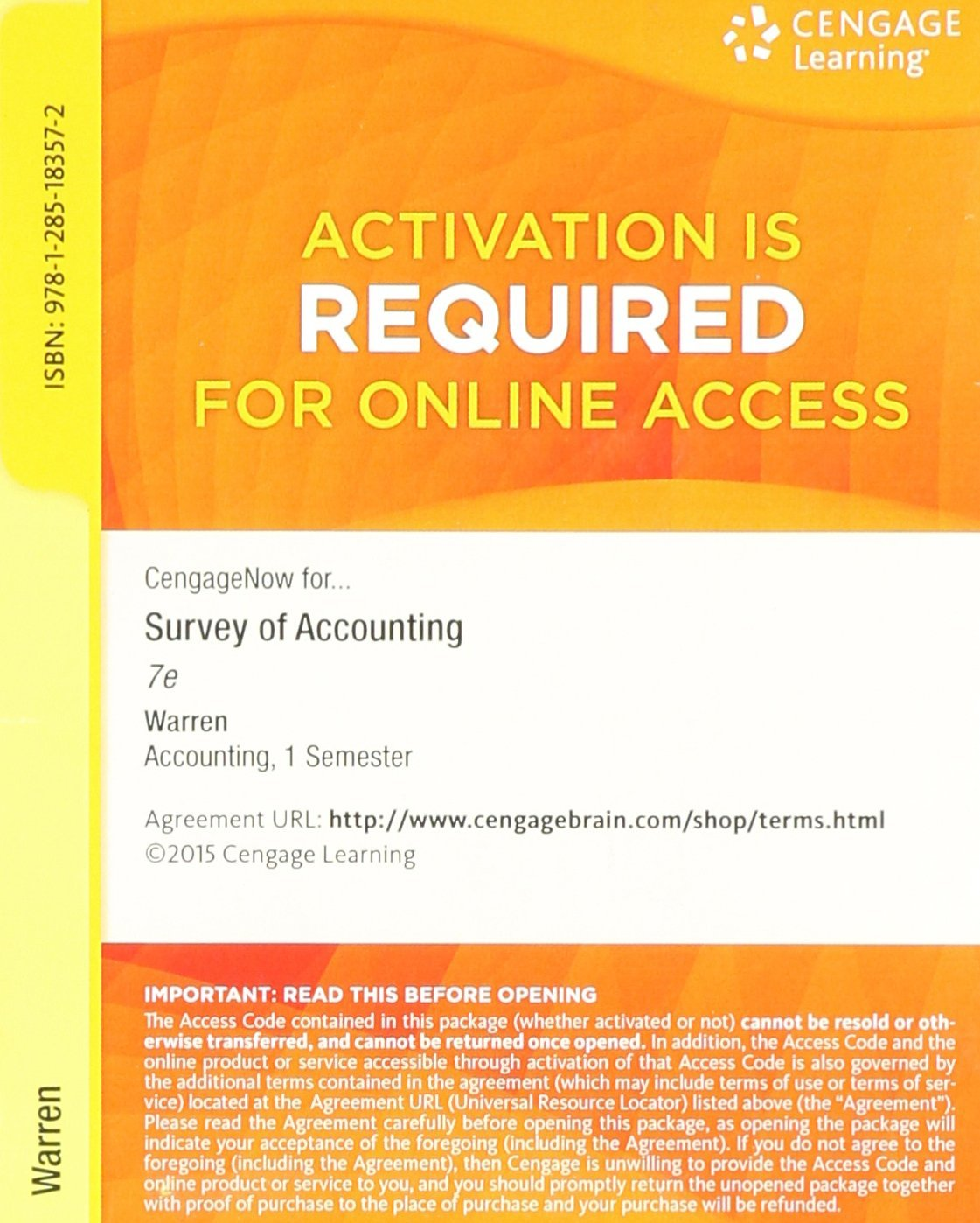 CengageNOW Printed Access Card for Warren's Survey of Accounting, 7th: Carl  S. Warren: 9781285183572: Amazon.com: Books