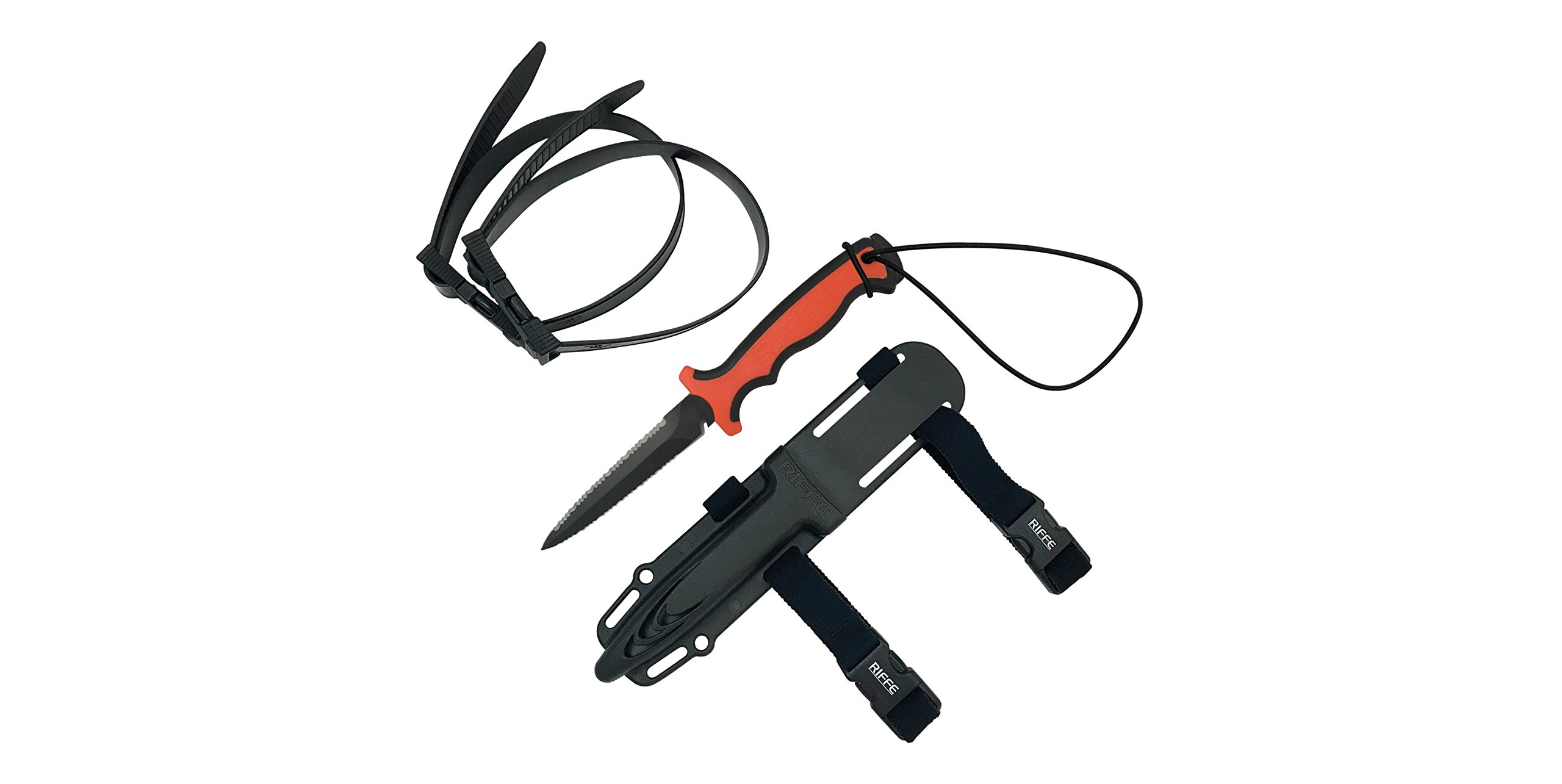 Riffe Wrangler (Dual Serration) Saftey Orange/Black Dive Knife
