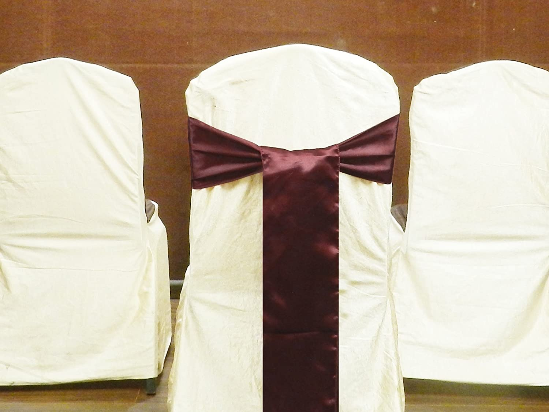 BLACK ELH-1002 ELINA HOME PACK OF 50 Satin Chair Cover Bow Sash Wedding Banquet Decor 50
