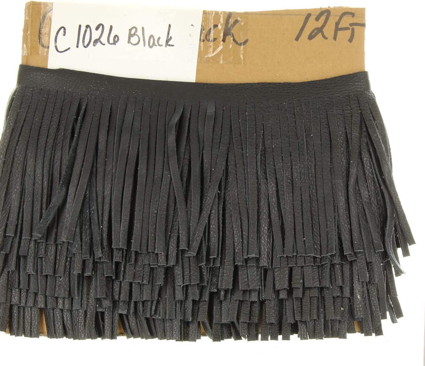 HHH Designs Franja de cuero negro para bolsos, chaquetas u otros accesorios