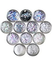 Nail Glitters Nail Art Flakes 12 Boxes Various Styles Chunky Cosmetic Glitter Hexagon Festival Sequins for Face Body Hair and Eye Make Up (White)