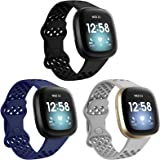 Liwin 3-Pack Sport Bands Compatible with Fitbit Sense/Versa 3, Silicone Bands for Women Men, Soft Waterproof Breathable Repla