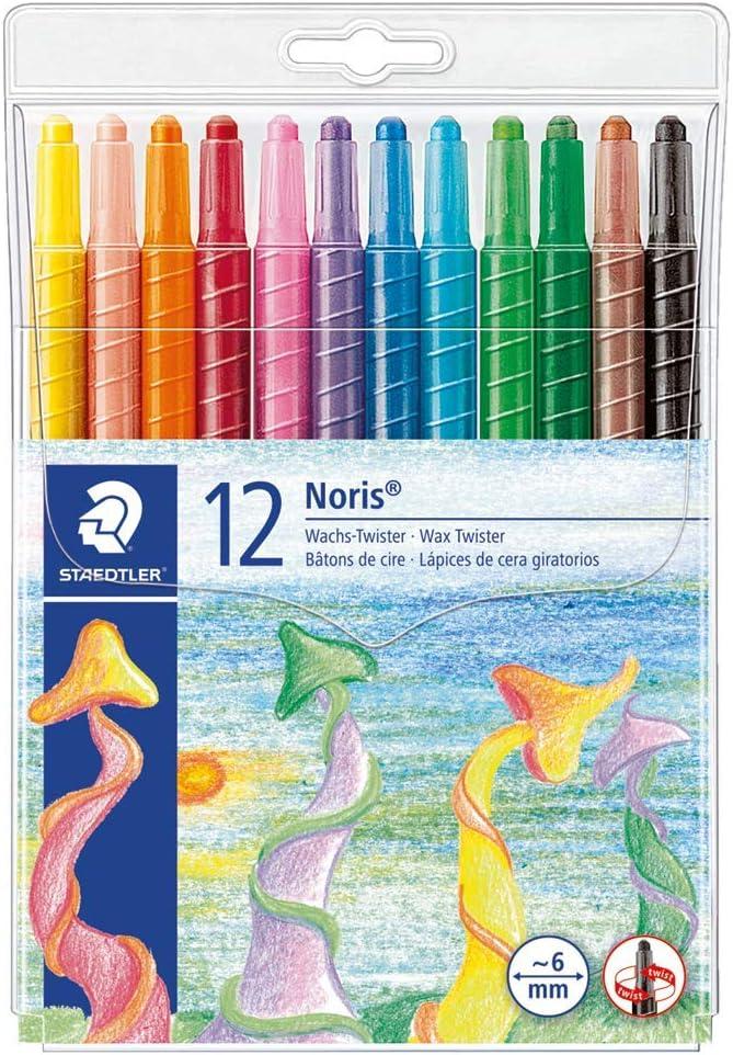 Staedtler Noris Club 221 NWP12, Lápices de cera giratorios, Estuche con 12 ceras de colores surtidos: Amazon.es: Juguetes y juegos