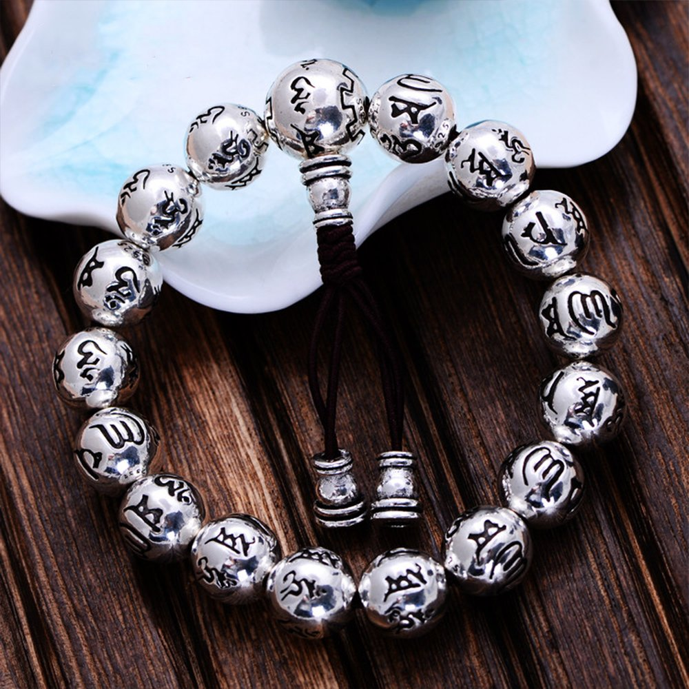 MetJakt Buddhism Mantra Bracelet Solid S999 Sterling Silver Buddha Beads Bracelet for Unisex Vintage Jewelry Stretching 7.5-9inches by MetJakt (Image #4)