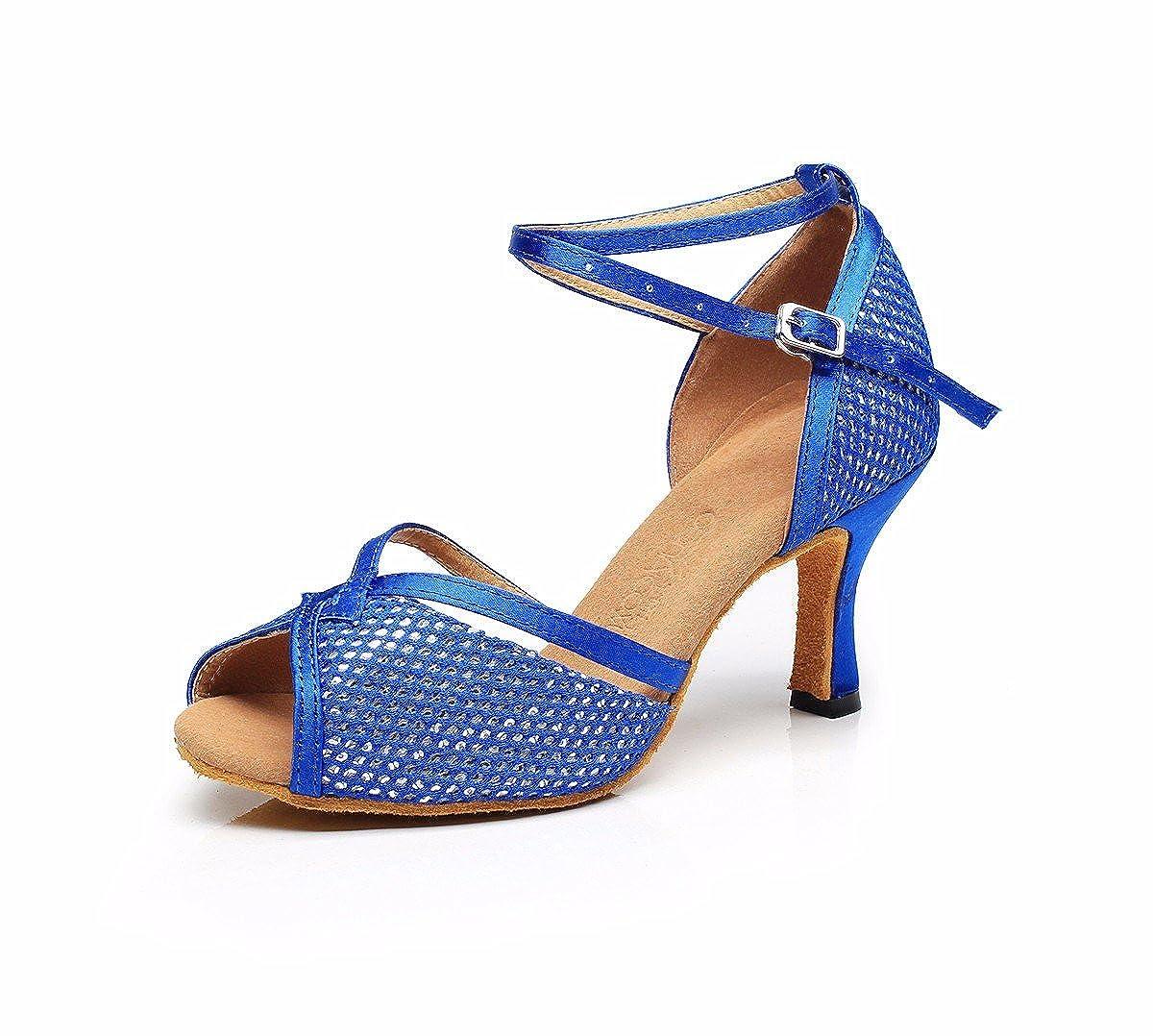bleu 42 EU JINGXINSTORELes Chaussures de Danse Salsa Latine Sandales Satin intérieur Professionnel