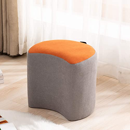 Artechworks Moon Shape Ottoman Upholstered Small Modern Stool Footstool Foot Rest Ottoman