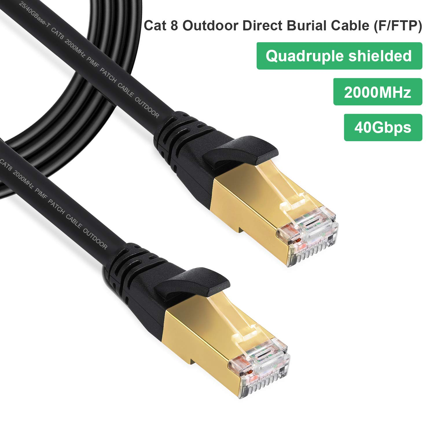 Cat8 Cable Ethernet 10FT LAN High-Speed,Gigabit Cat7 Heavy Duty Internet Network Cord,High Speed FFTP LAN Cables Waterproofed UV Resistant with Gold Plated RJ45 Connector for Router, Modem, Gaming by Phizli