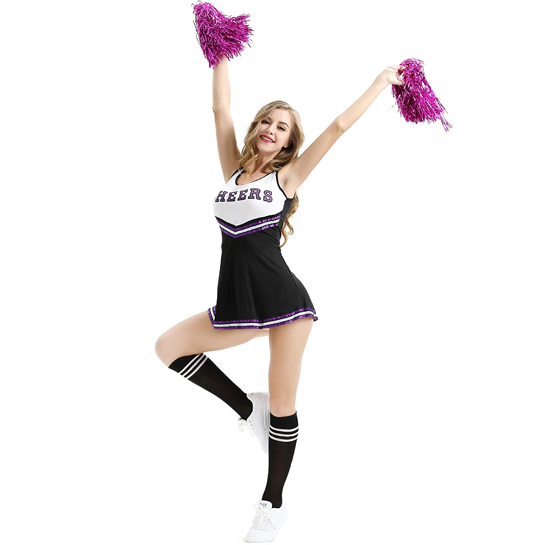 Amazon.com: Poppyflyer Cheerleader Disfraz Escolar Niña Sexy ...