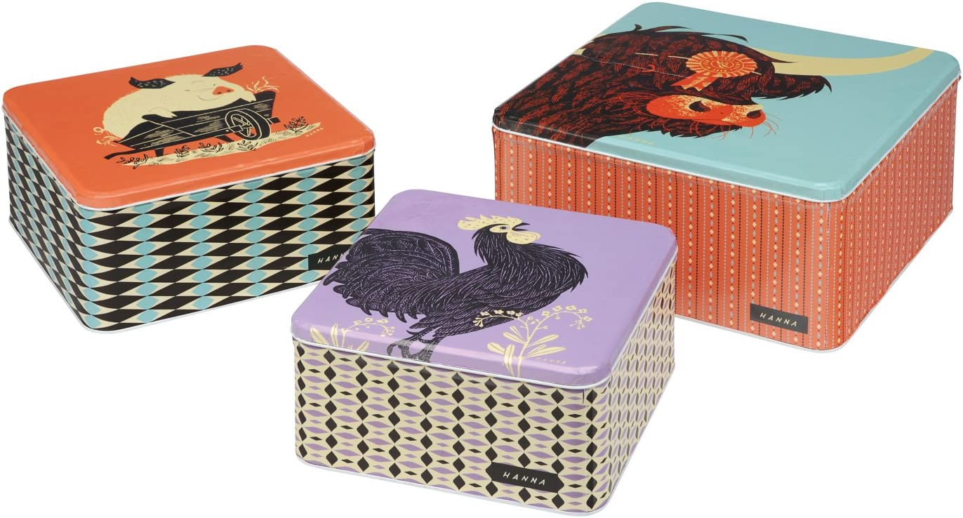 John-Hanna-Country-Fair-Animals-Set-Of-3-Graduated-Square-Cake-Tins-Vintage-Reproduced-0
