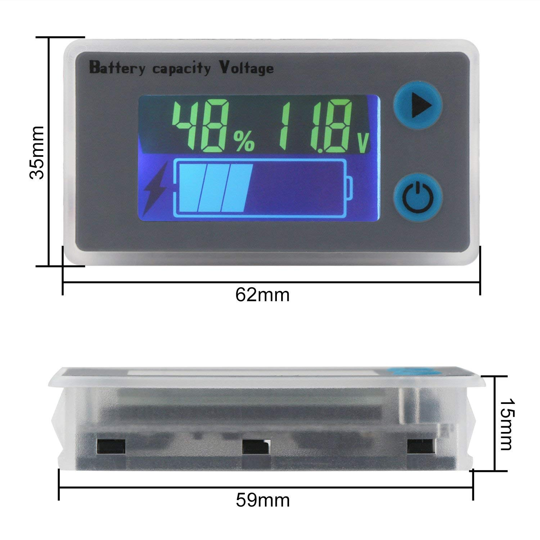 12-48V LCD Digital Battery Capacity Monitor Indicator Voltage Tester Meter Gauge