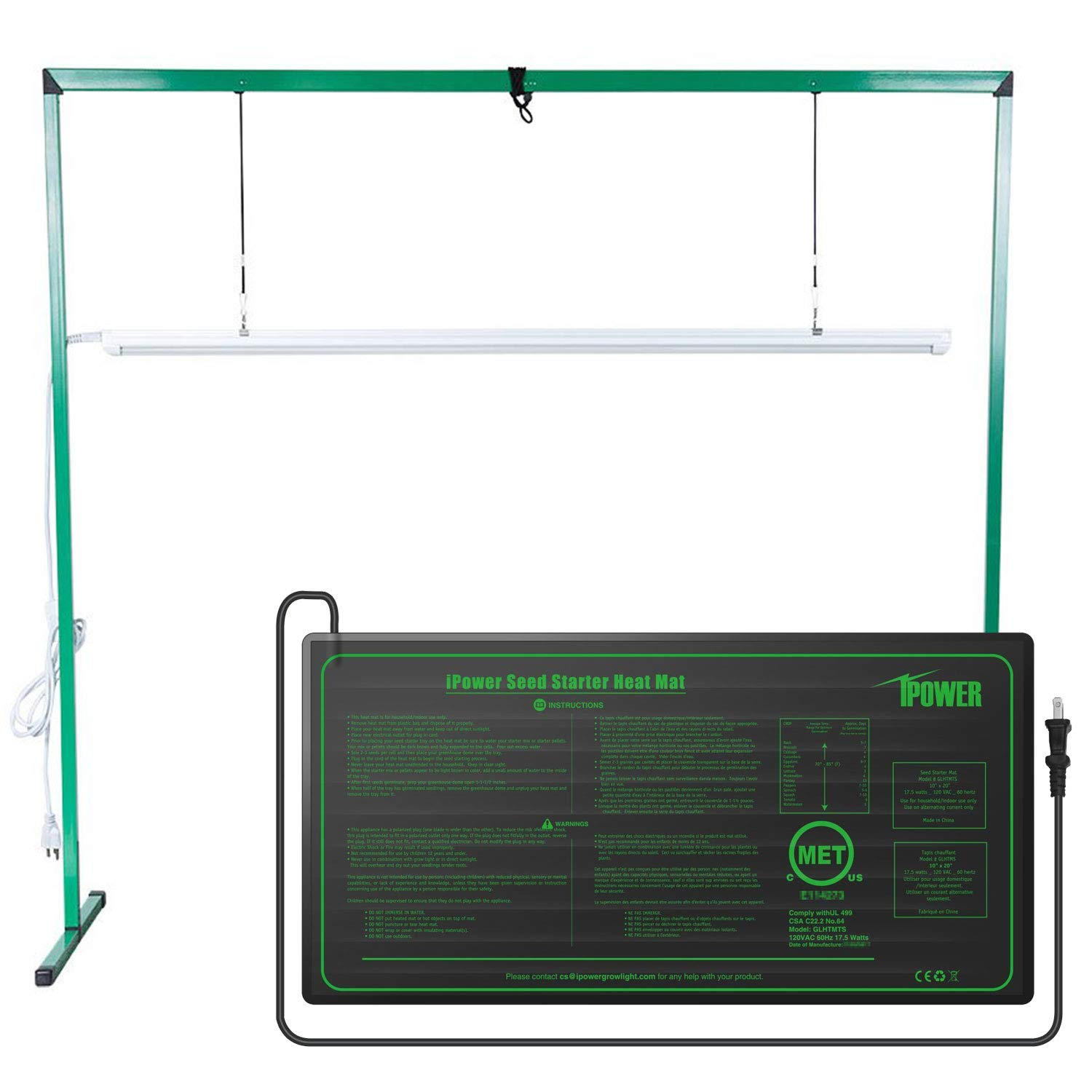 iPower GLSTNDLED4FHTMTS 36W 4 Feet LED Grow Light Stand Rack and 10'' x 20.5'' Hydroponic Heat Mat Combo Set for Seed Germination, Green