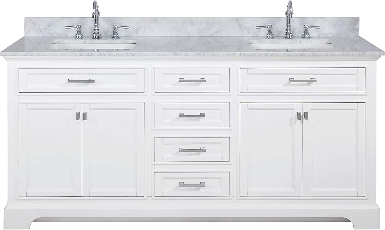 Design Element Ml 72 Wt Milano 72 White Bathroom Vanity With Double Sink Carrara Marble Countertop Amazon Com